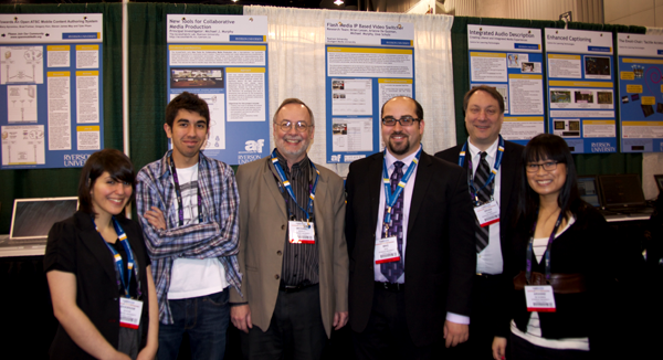 The team at Ryerson's booth at NAB 2011. From left to right: Shabnam Shahin, Konstantino Kapetaneas, Michael Murphy, Michael Dick, Brian Lesser, and Arianne de Guzman.
